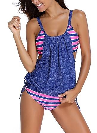 Azue Damen Zweiteilig Tankini Bauchweg Badeanzug Sportlich Beachwear mit  Bikinislip  Amazon.de  Bekleidung 3c53af1d5a