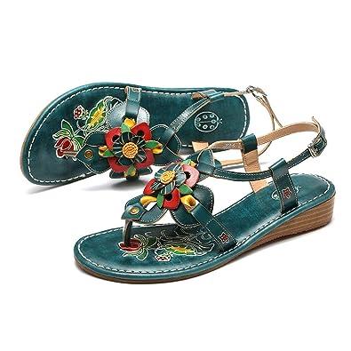 75669b556175cd Gracosy Sandales Femmes Plates, Chaussures Été en Cuir Tongs Nu Pieds  Claquettes à Talons Confortables