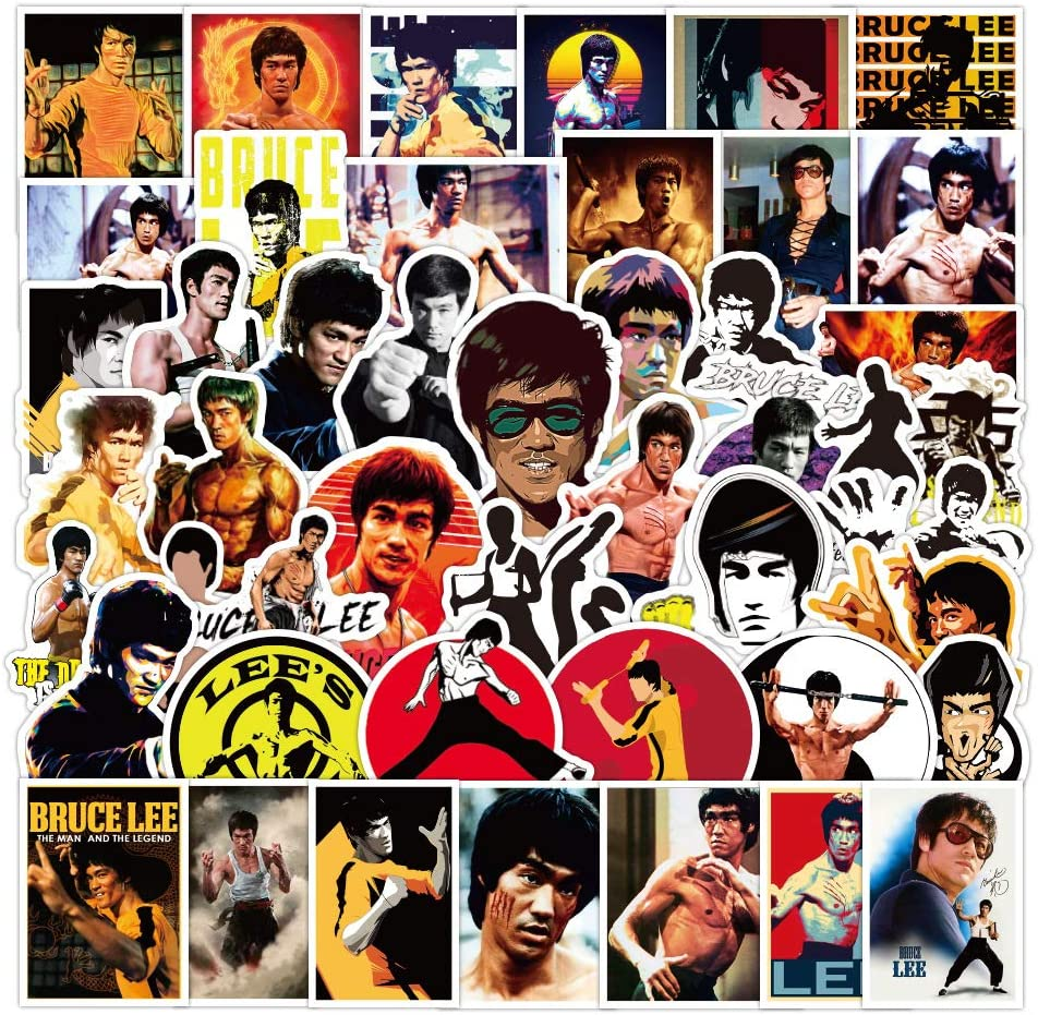 Bruce Lee Laptop Stickers 50pcs Pack, Fashion Water Bottle Luggage Skateboard Sticker for Kids/Teen, Cool Martial Arts Movie Actors Decal forTravel Case Phone Notebook Helmet Bicycle (Bruce Lee)