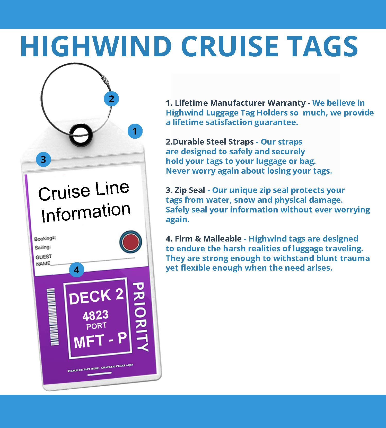 Cruise Tags Luggage Etag Holders Zip Seal & Steel Loops Thick PVC 4 Pack - Clear by Highwind (Image #3)