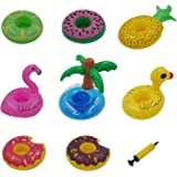 Vaburs 8 Pcs Inflatable Drink Holder Float Water Toy with Mini Air Pump for Pool Party Water Fun,Flamingo,Pineapple,Palm Tree,Watermelon,Lemon,Duck and 2 Donut