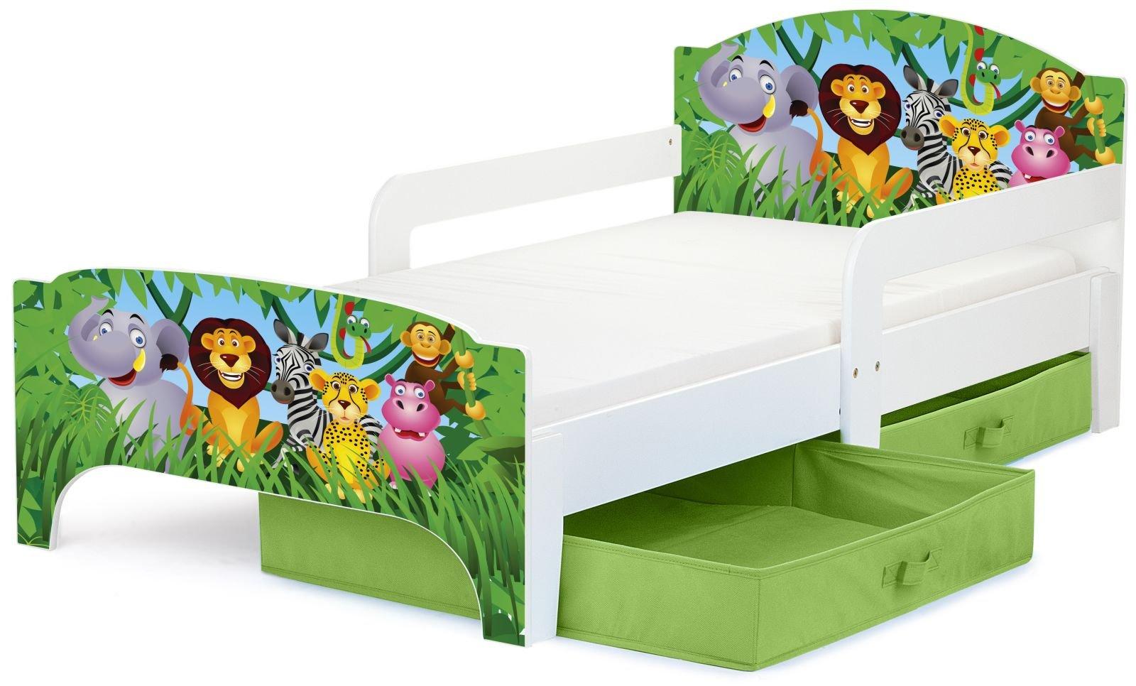 Smart Letto Lettino Per Bambini In Legno Cassetto Cassettone e Materasso Magnifiche Stampe Mobili Per Bambini Attrezzatura Stanza Per Bambino Dimensioni 140x70 Zoo Animali product image