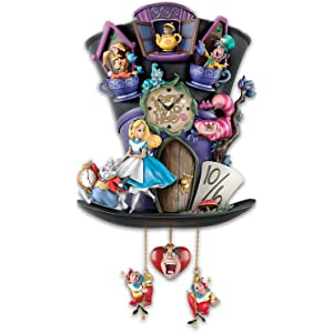 Bradford Exchange The Disney Alice in Wonderland Mad Hatter Light Up Cuckoo Clock