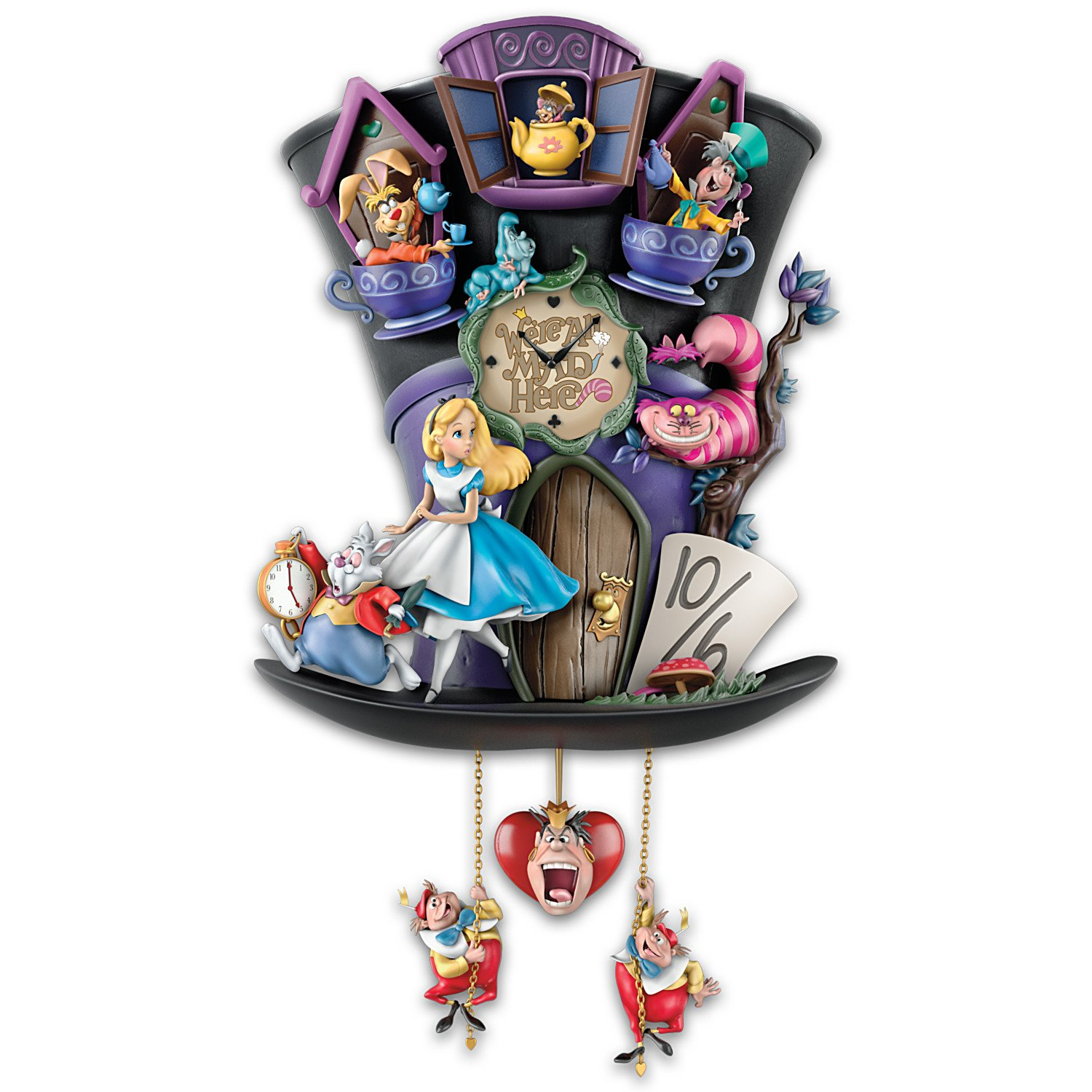 Disney Alice in Wonderland Mad Hatter Light Up Cuckoo Clock by The Bradford Exchange by Bradford Exchange