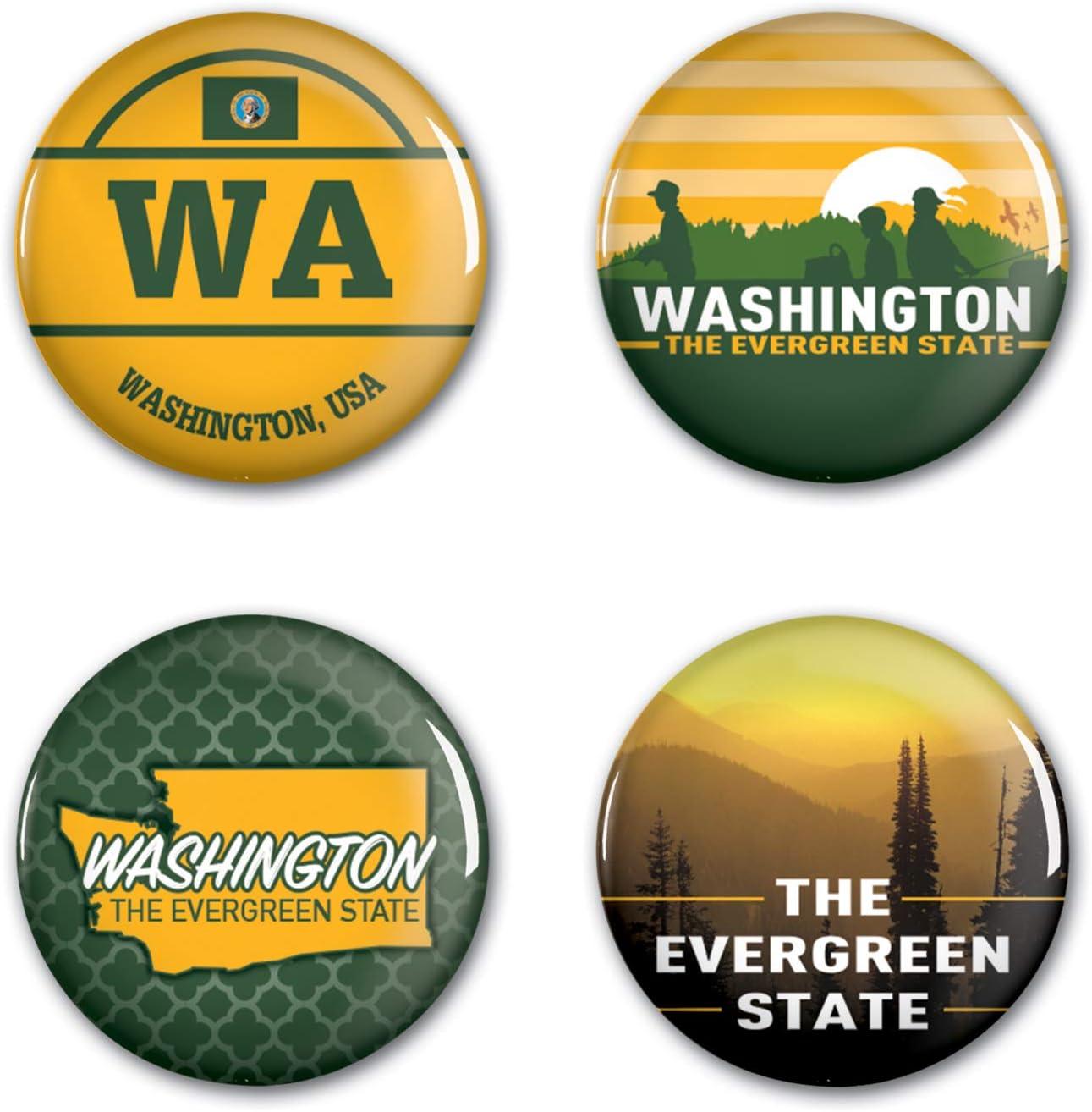 WinCraft Destination Washington State//Washington Button 4 Pack 1 1//4 RoundState//Washington Button 4 Pack 1 1//4 Round NA Multi