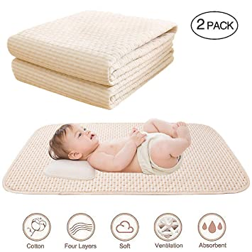 quality design 52efb 5860a Baby Waterproof Bed Pad Organic Cotton Mattress Protector Reusable  Incontinence 4 Protective Layers Ultra Absorb Sheets for Infants Kids, Size  ...