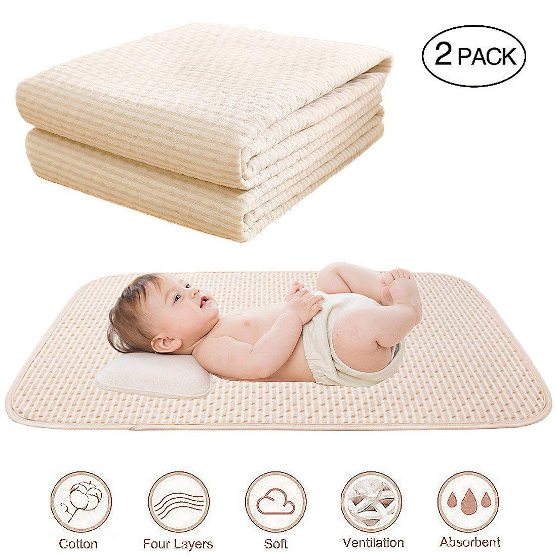 """Baby Waterproof Bed Pad Organic Cotton Mattress Protector Reusable Incontinence 4 Protective Layers Ultra Absorb Sheets for Infants Kids, Size 39.5""""x23.8"""" (2 Pack)"""