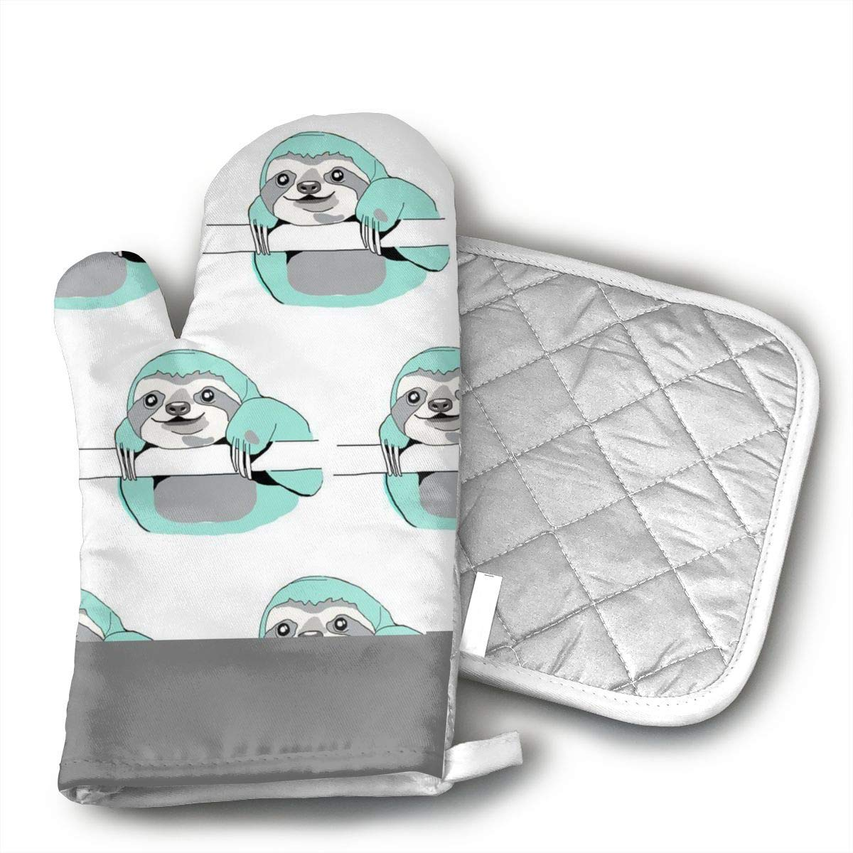CHWEYAQ Mint Sloths Oven Mitts with Nice Printing Cotton Lining, Heat Resistant to Kitchen Oven Gloves Pot Holder for Cooking