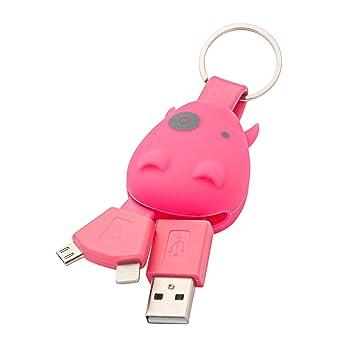 Munkees - Llavero hipopótamo con cable de carga USB para smartphones, Micro USB, Lightning, 3700