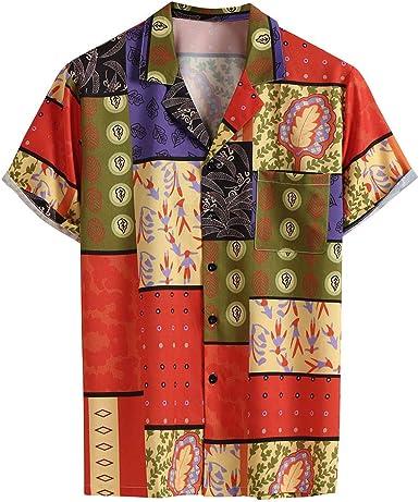 Camisa Vintage de Verano para Hombre, Estilo Hippie, de Manga Corta, Transpirable, para Hombre, Casual, Hawaiana, para Playa, Vacaciones, Hawaiano, Talla Grande Rojo Rosso 38: Amazon.es: Ropa y accesorios