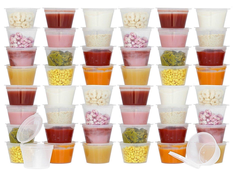 ... pequeña de 100 ml (juego de 50) + tapa con bisagras - Mini recipiente para aperitivos Vegan, control de porciones de alimentos, dieta, dulces, salsas, ...