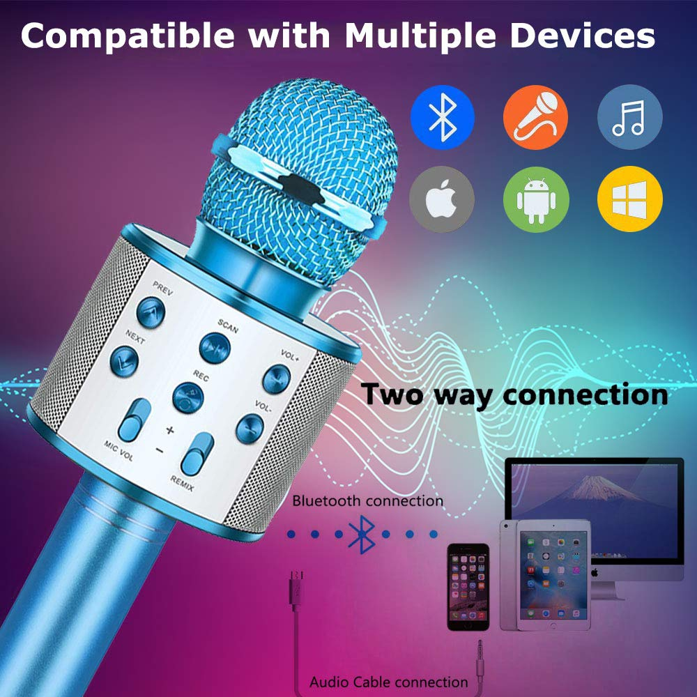 Fun Toys For 4-15 Year Old Girls,Niskite Handheld Karaoke Microphone For Kids Age 7-14,Birthday Gifts for 8 9 10 11 Years Old Boys Girls Blue by Niskite (Image #2)