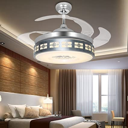 RS Lighting Modern Minimalist LED Living Room Ceiling Fan Light Invisible  Fan Light Dining Room Bedroom