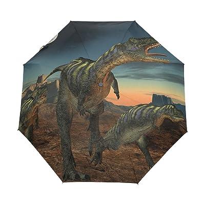 ALAZA 3D Dinoasaur Forest 3 Folds Auto Open Close Anti-UV Umbrella