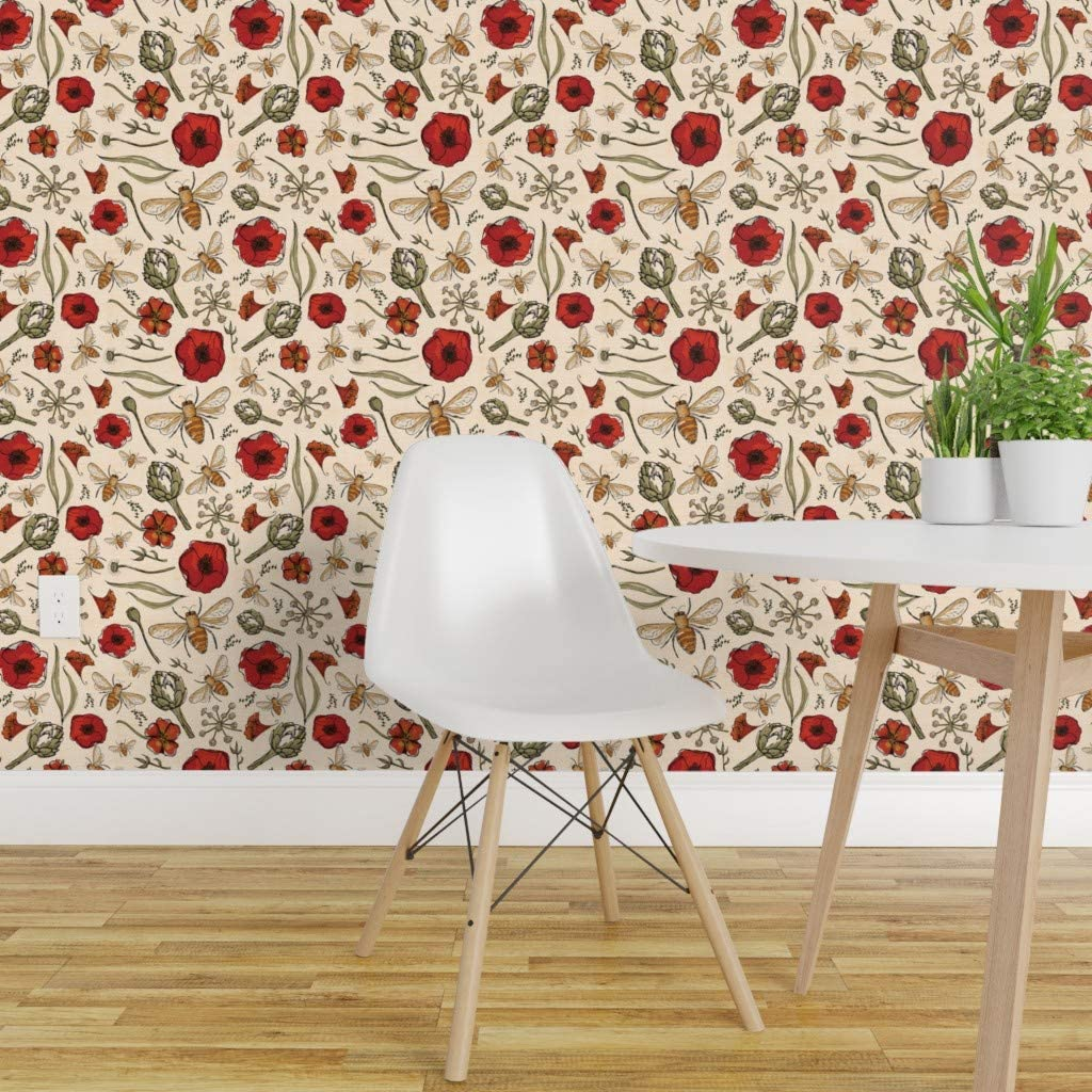 Spoonflower Peel And Stick Removable Wallpaper Country Floral