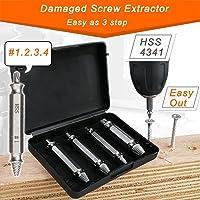 JTENG Coffret de 4pcs Extracteurs de vis endommagées screw remover H.S.S. 4341#, Temper: 62-63hrc