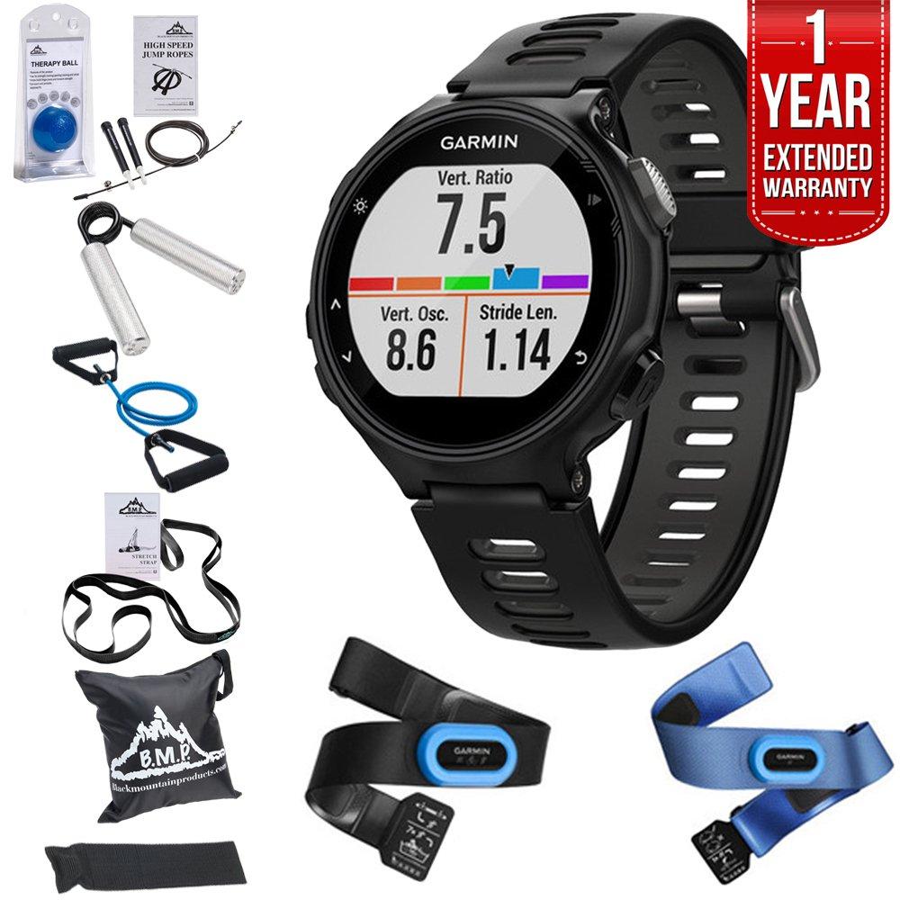 Garmin Forerunner 735XT GPS Running Watch Tri-Bundle - Black/Gray (010-01614-03) + 7-in-1 Total Resistance Fitness Kit + 1 Year Extended Warranty