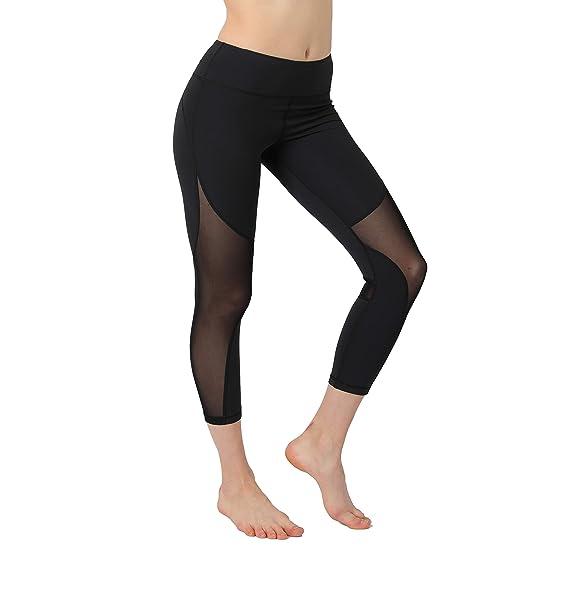 aa7a89aff080c Slimour Women Mesh Cutout Leggings Running Capri Pants High Waist Workout  Capris with Cutouts Black 4