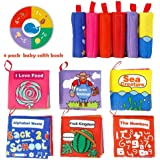 ThinkMax Crinkle Baby Soft Cloth Book, Non-Toxic Early Educational Toys - Pack of 6
