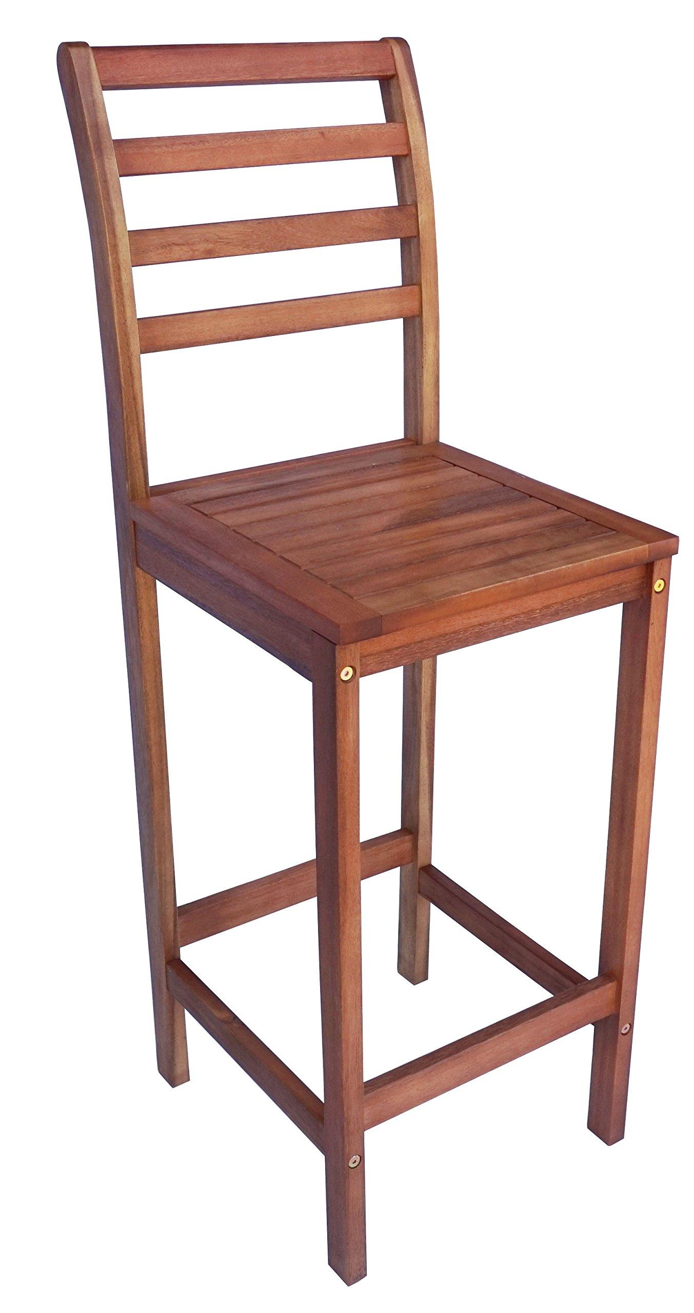 Zen Garden Eucalyptus Wood Bar Chair, Size - 16'' x 16'' x 47.5'', Set of 2, Teak Wood Finish, Teak Yellow