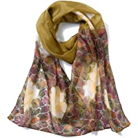 Invisible World Women's 100% Mulberry Silk Scarf Rose Flower
