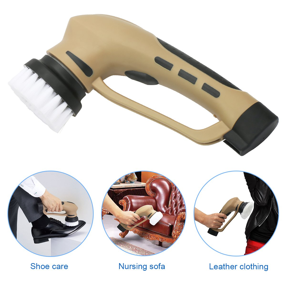EVERTOP Mini Multifunctional Electric Shoe Polisher Cleaning Brush, Shoe Shine Kit for Suede Leather Nubuck Shoe/Boot with Rechargeable Battery, Hand-Held Portable Leather Shine Kit Brown