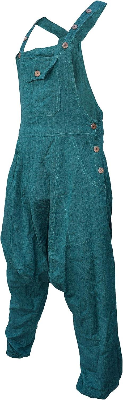 Gheri Womens Natural Cotton Overalls Lightweight Plain Festival Dungarees Harem Pants