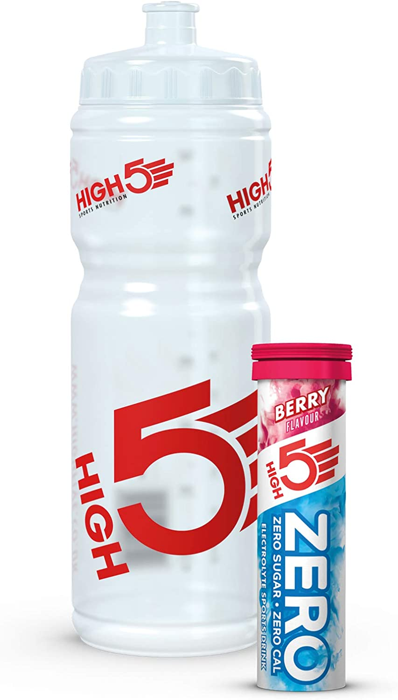 High5 Running Jogging Water Bottle Hand Held 330ml PLUS 3 x ENERGY GELS High 5