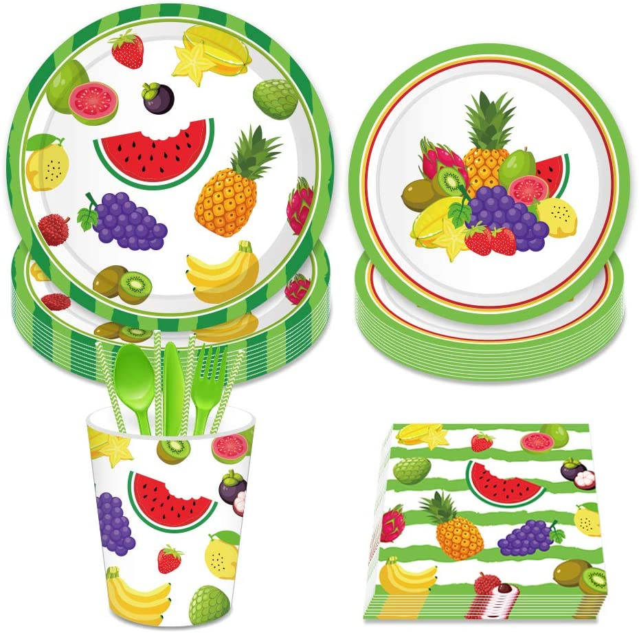 LJCL Tutti Frutti Party Supplies Set - Serves 8, Includes Plates, Cups and Napkins. Pineapple Birthday Party Pack for Kids,Boys,Girls Ocean, Summer Tropical and Tiki Hawaiian Luau Parties Decor Favor