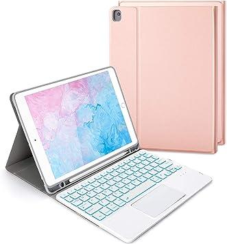 Jelly Comb Funda con teclado retroiluminado para iPad 2019/2020 de 10,2 pulgadas (8,/7ª generación), iPad Air 3, iPad Pro de 10,5 pulgadas, teclado ...