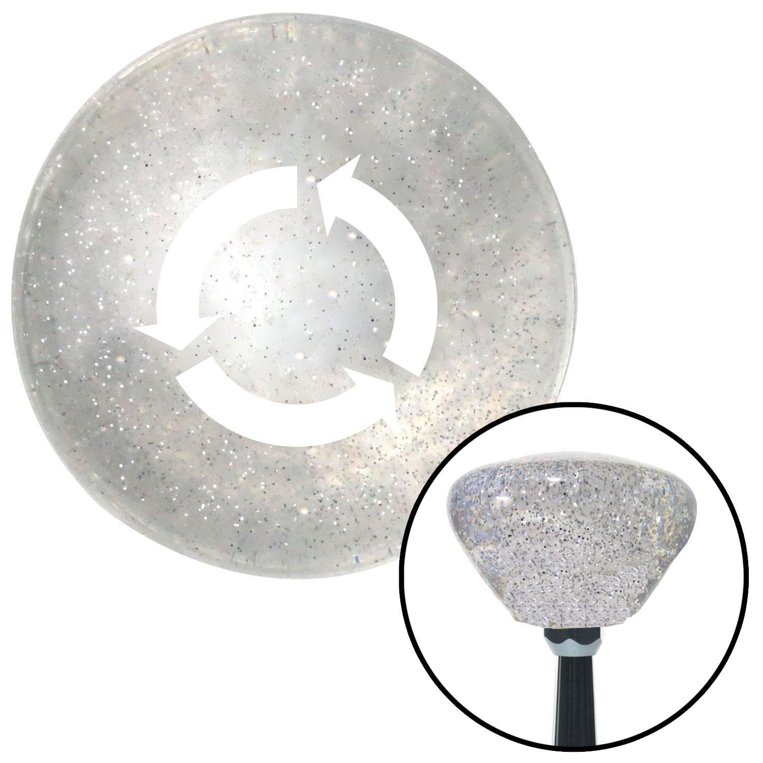American Shifter 160038 Clear Retro Metal Flake Shift Knob with M16 x 1.5 Insert White Arrows in Circle