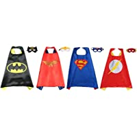 Perellier Kids Superhero Capes and Masks of 4 Superheroes. Ideal for Fun Parties, Game Play, Great Halloween Costumes - Superhero Fun and Games - Variety Pack 1