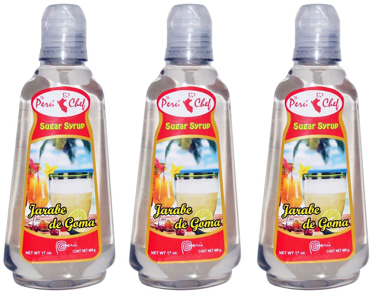 Jarabe de Goma - Sugar Syrup 3 bottles of 17 oz each by Peru Chef (Image #1)