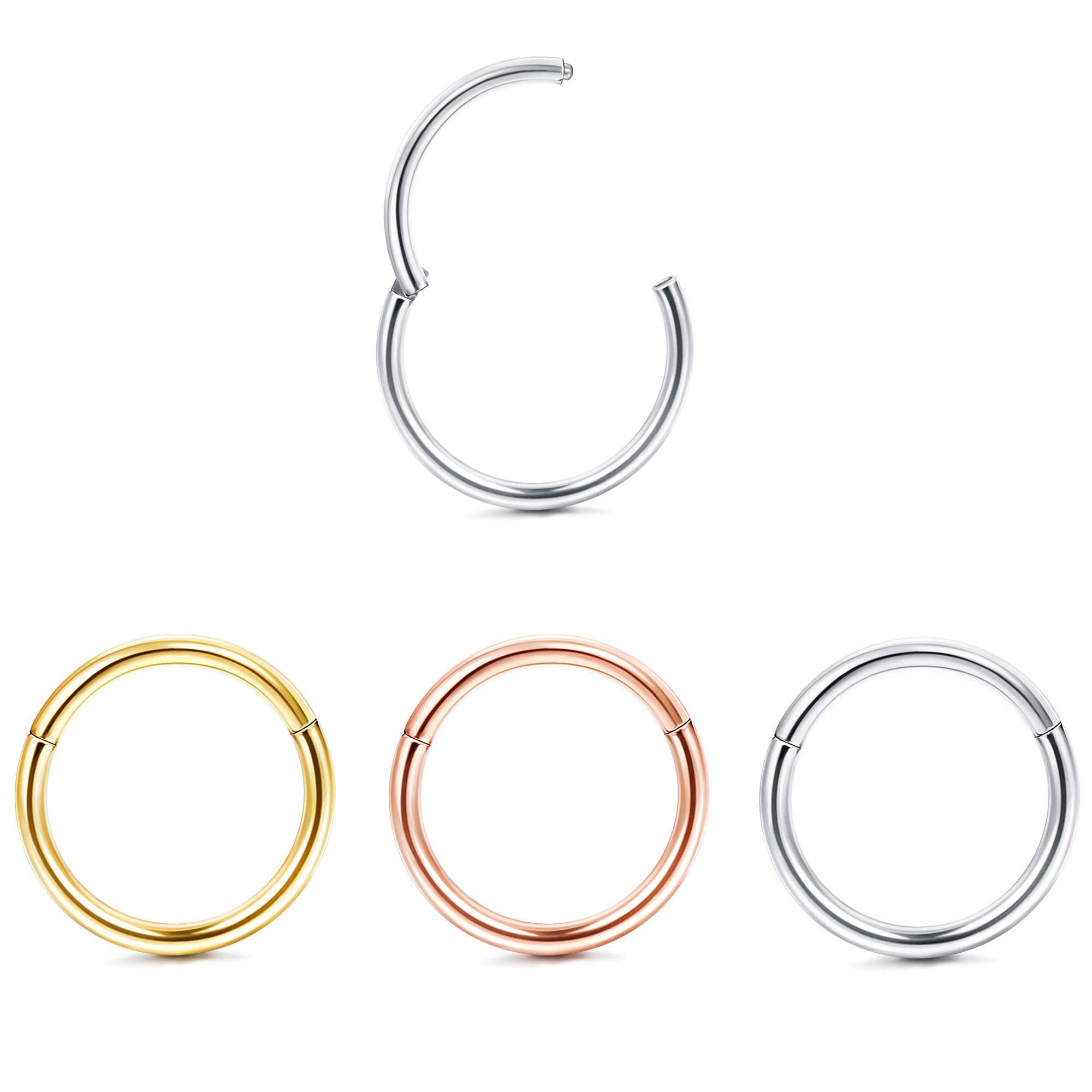 Jstyle 3Pcs 18G Hinged Clicker Nose Rings Hoop Surgical Steel Helix Cartilage Daith Tragus Sleeper Earrings Body Piercing 8MM by Jstyle