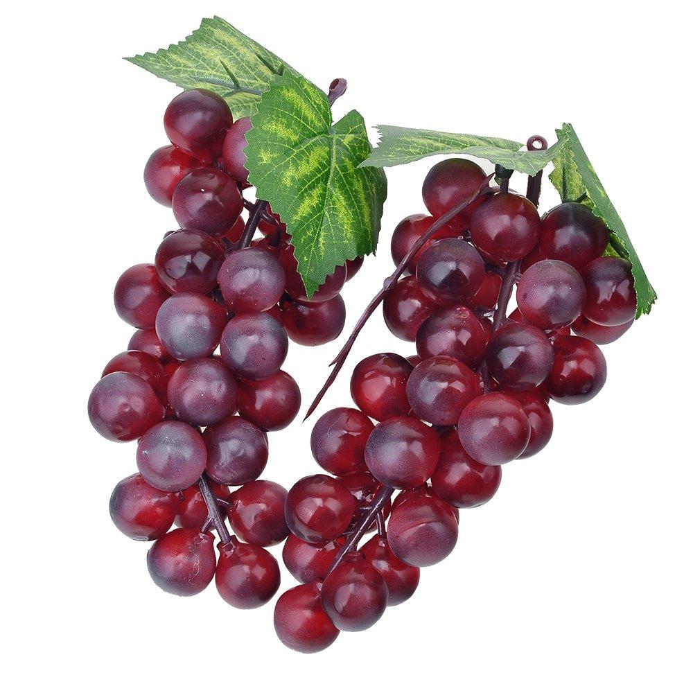 zhangming 2pc Deko Kunststoff Weintrauben Wein Trauben Kunstobst Plastikobst künstliches Obst Gemüse Dekoration 2 mal 17cm (Lila) zhangming@