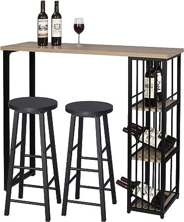 WOLTU 1 Mesa de Bar + 2 Taburete de Bar Mesa de Bistro Sillas y Mesa de Comedor, con 3 Estantes, Estructura de Metal, MDF, 120x40x105cm (WxDxH) Roble BT26hei+BH130sz-2