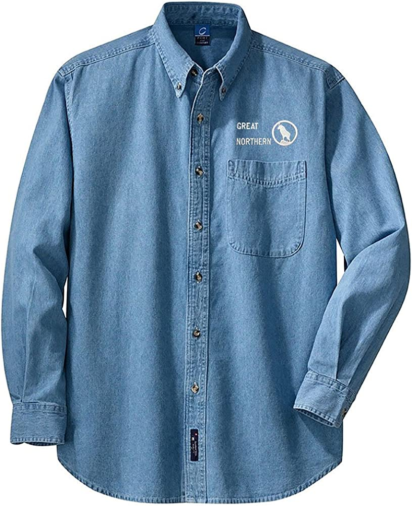 den64LS Great Northern Railway Rocky Logo Long Sleeve Embroidered Denim