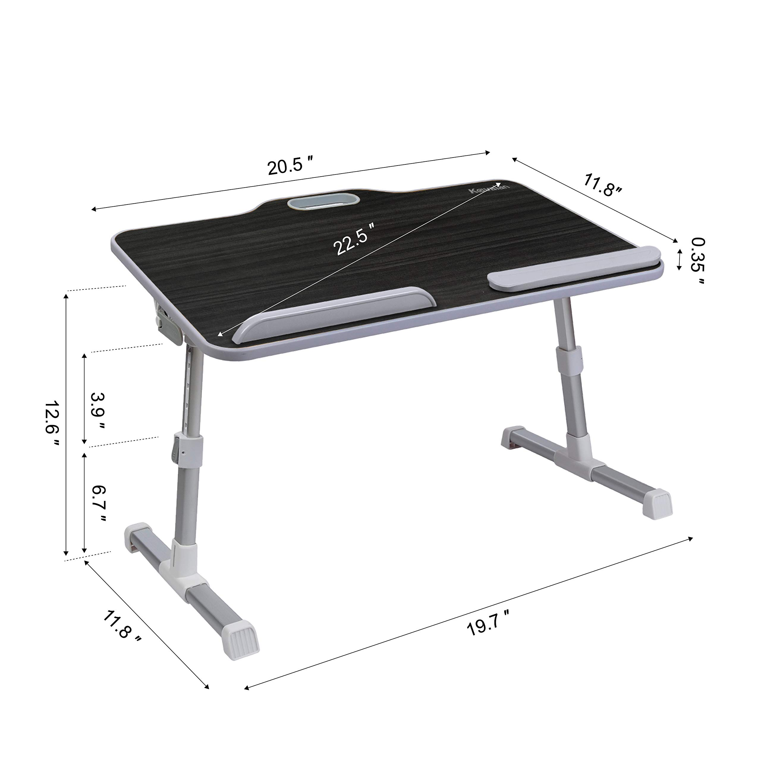 Kavalan Laptop Table for Bed, Height & Angle Adjustable Sit and Stand Desk, Portable Standing Table with Handle, Foldable Bed Desk for Laptop and Writing in Sofa Couch Floor