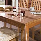 Freelance PVC Plastic Transparent Clear Dining Table Cover Cloth Tablecloth Waterproof Protector, 10 seater, 60 X 120 inches, Rectangle (without laced edges), product of Meiwa, Japan