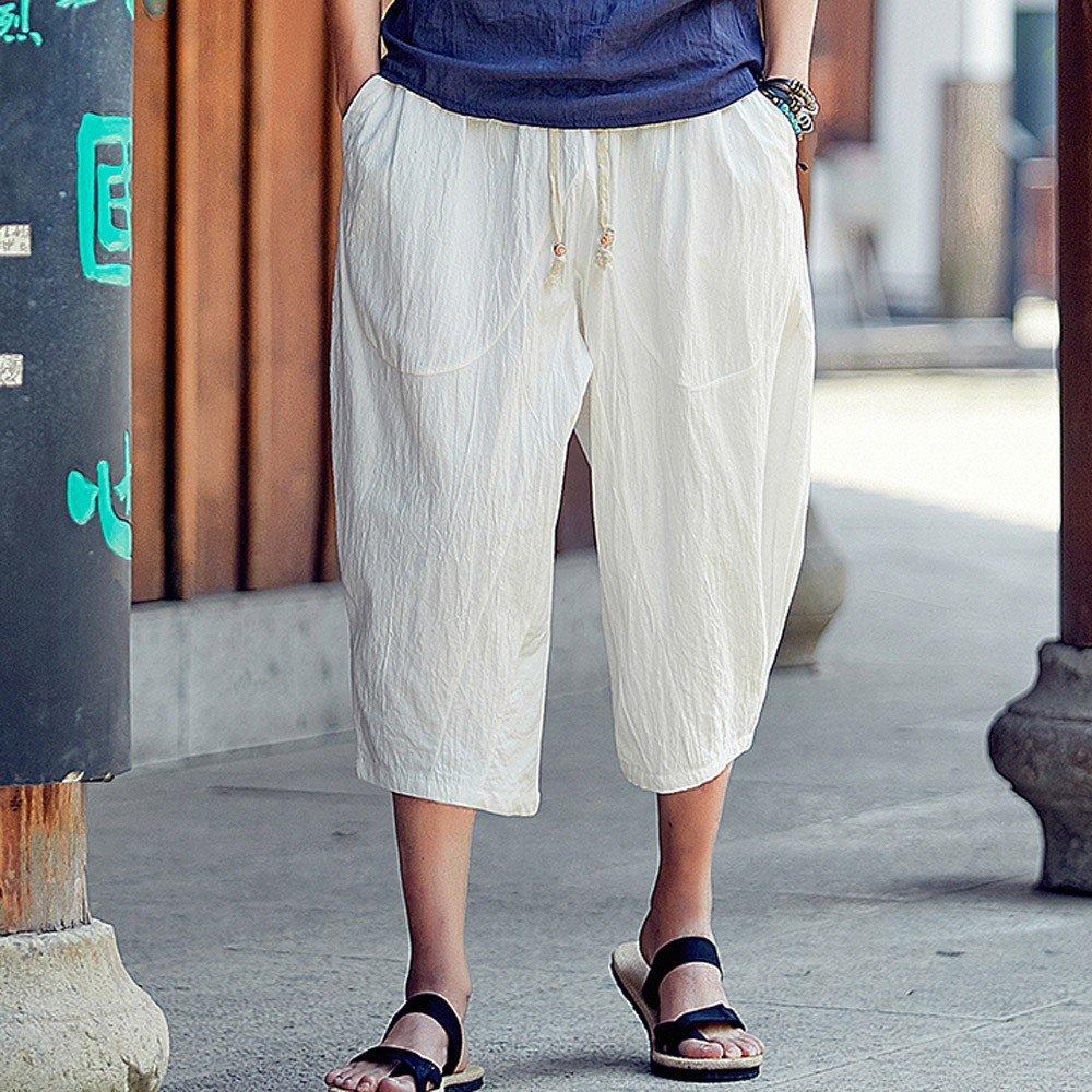 Baiggooswt Mens Casual Slim Sports Pants Calf-Length Linen Trousers Baggy Harem Pants