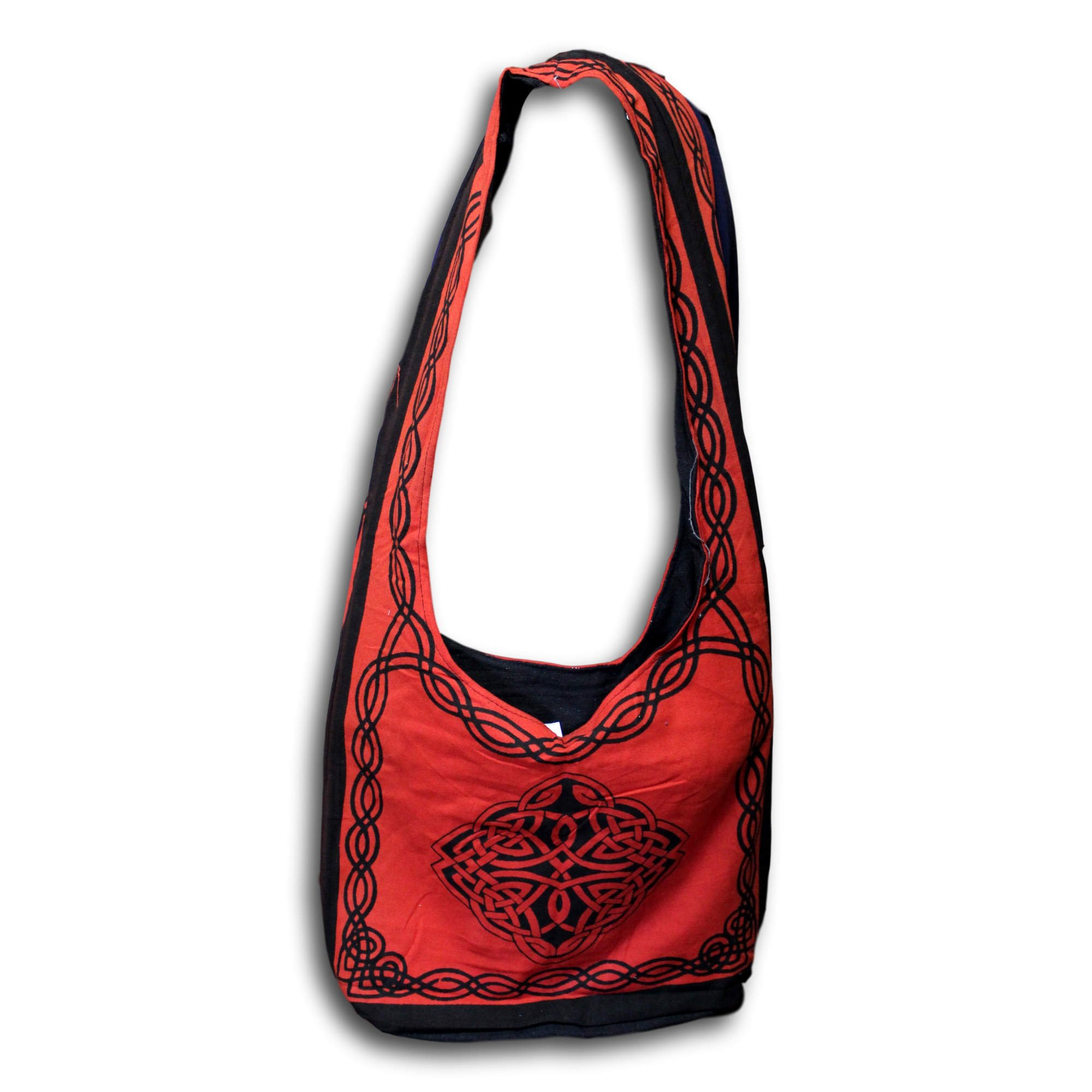 Celtic Bag Hobo Cotton Bag Fabric Bags Shoulder Bags for Shopping Work School Tote Bag Flat Bottom 15 x 12 inches (Red)