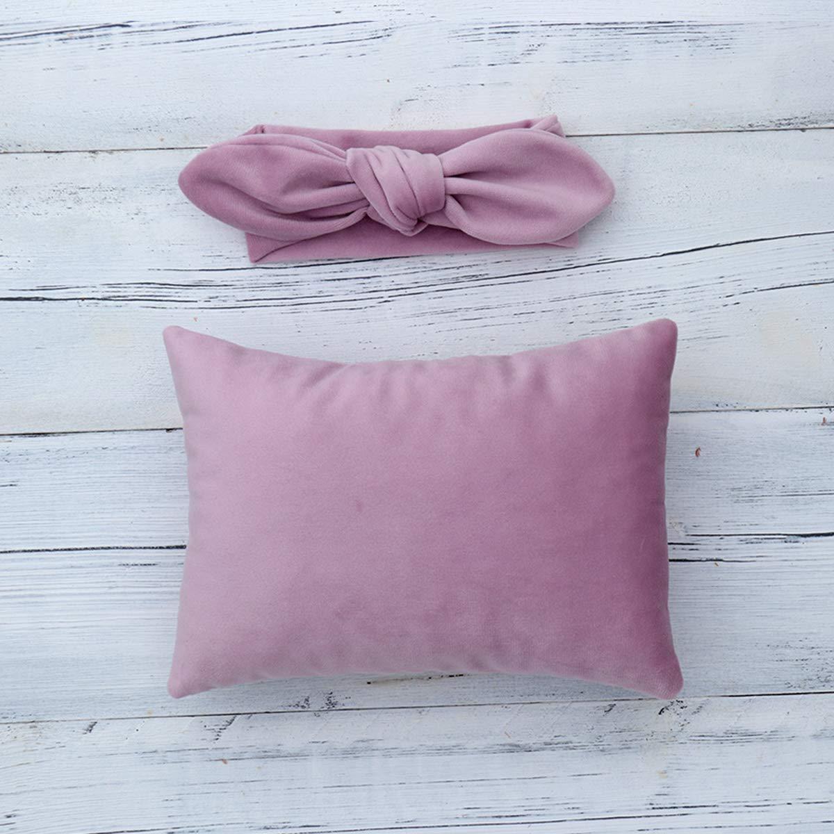 Headband Set Photography Props 2pcs Soft Velvet Posing Pillow Newborn Baby Head Shaping Pillow and Headband