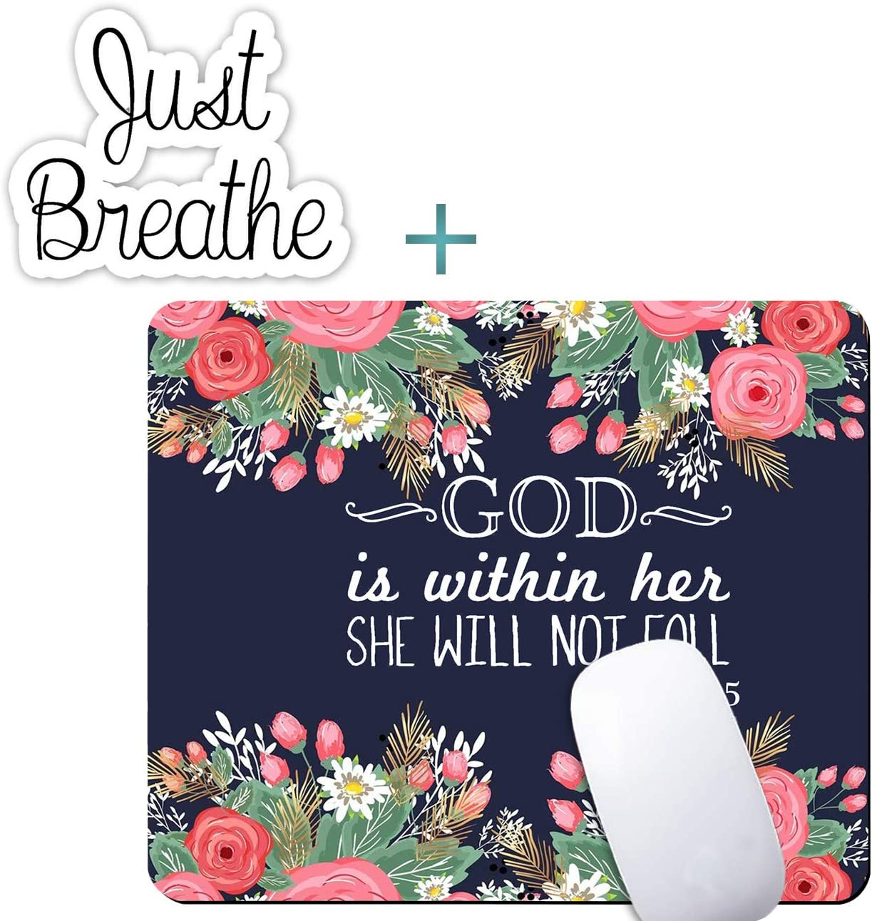Floral Mouse Pad, Bible Verse God is with Her Mousepad with Cute Laptop Stickers, Non-Slip Rubber Gaming Mouse Pad Office Home Desk Decor Computers Laptop Accessories Mouse Mat Pad
