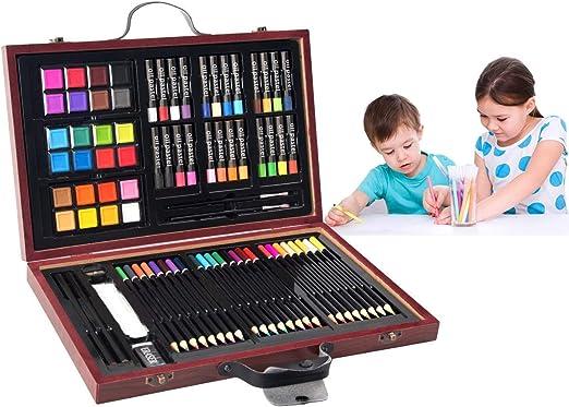 COSTWAY 80 Piezas Caja Pinturas Niños Caja de Papelería Set de ...