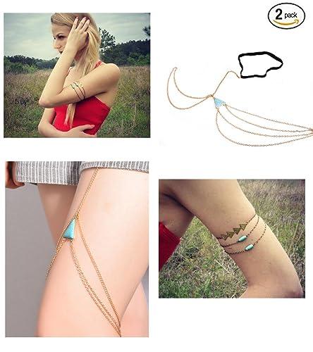 ad1d29bde Letter Love 2 Pcs Tassel Chain Upper Arm Bracelet Ring Set/Thigh Leg Chain/