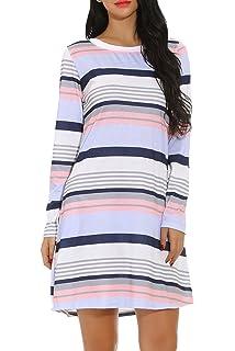 c683187896f4 Chvity Women s Short Sleeve Midi Dress Casual Skirt Stripe Color Block  Pockets