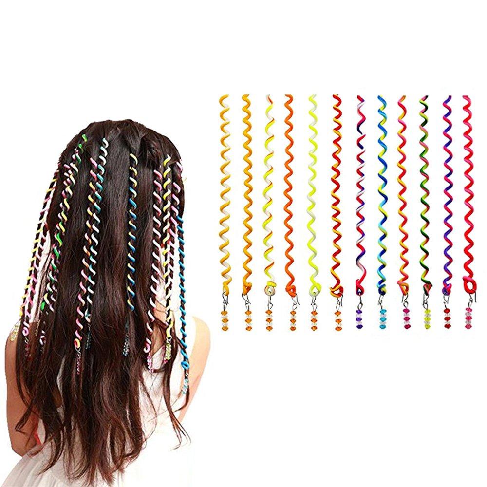 12PCS Pack Spiral Wave Hair Braider Curler, Multicolor Cartoon Girl Curls Hair Stick Circle, Hair StylingTwist Clip DIY Tools for Children Hair Accessories Jiudong