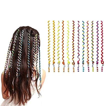 12pcs Paquete Espiral Rizador de Pelo Trenzado de Onda, Chica de Dibujos Animados Multicolor Círculo
