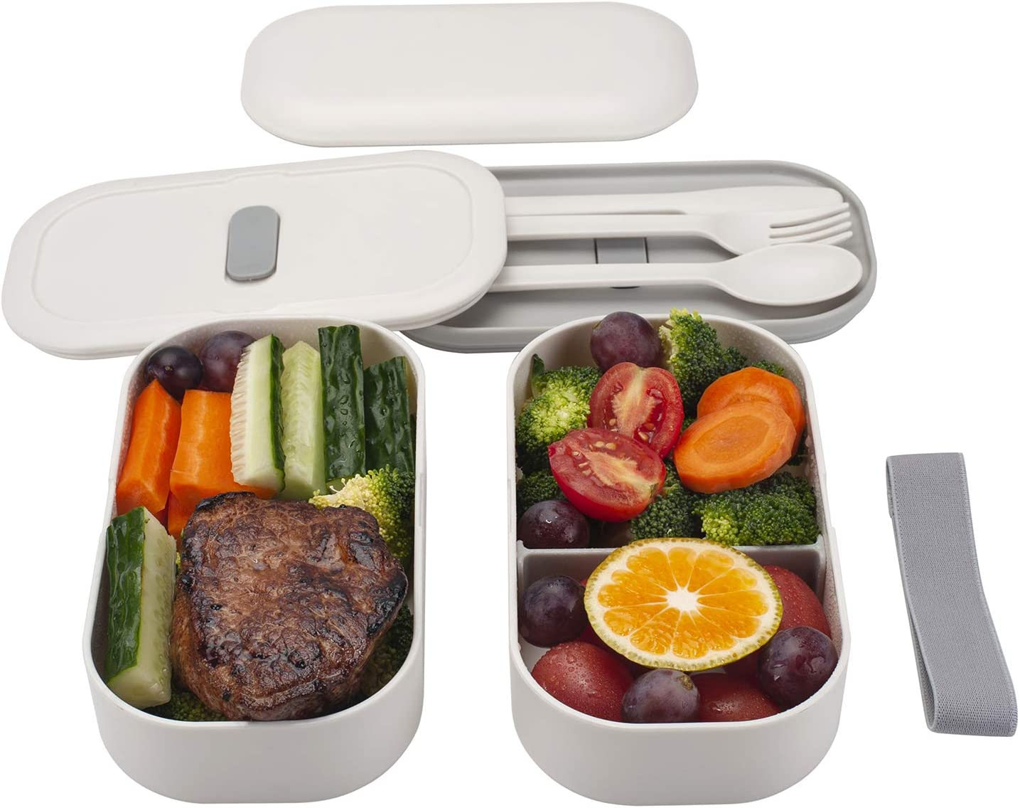 Freshmage Lunch Box Japanese Bento Box, Leak-proof Microwave Safe Stackable 2 Layers Plastic Lunch Container with Spoon, Fork, Knife for Kids Toddlers Women Adults (White)
