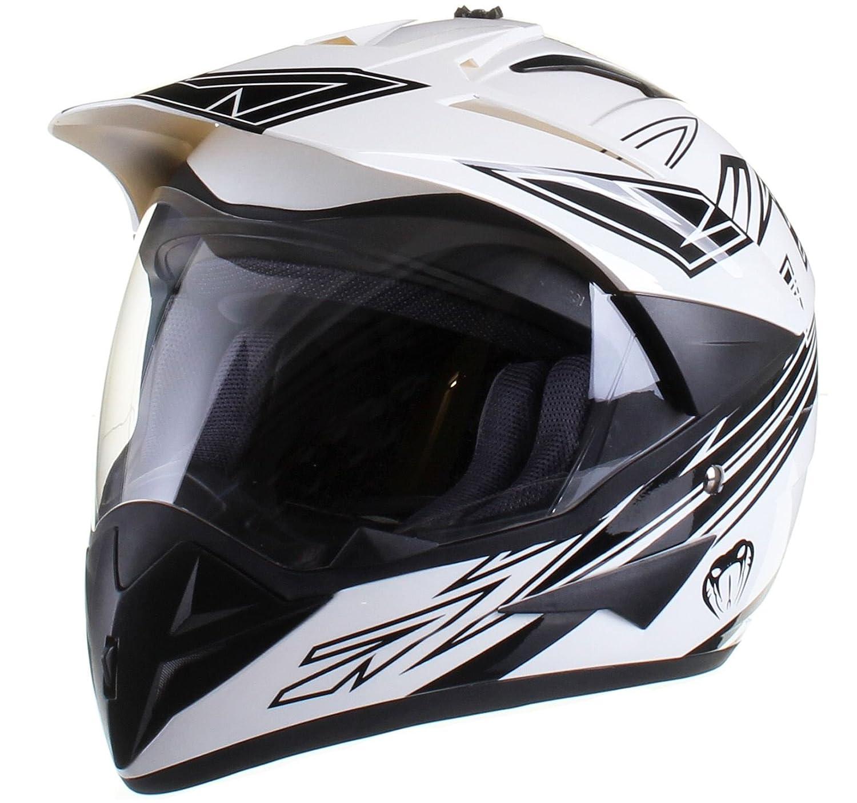 Amazon.es: Casco protector con doble visera MX - Para motocross / todoterreno / enduro / MX / cicloturismo - Negro - M (57-58 cm)